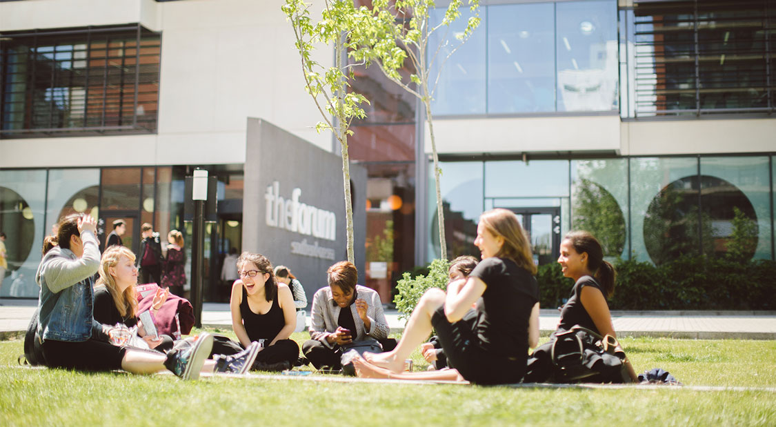 Students outside the Forum at our Southend Campus