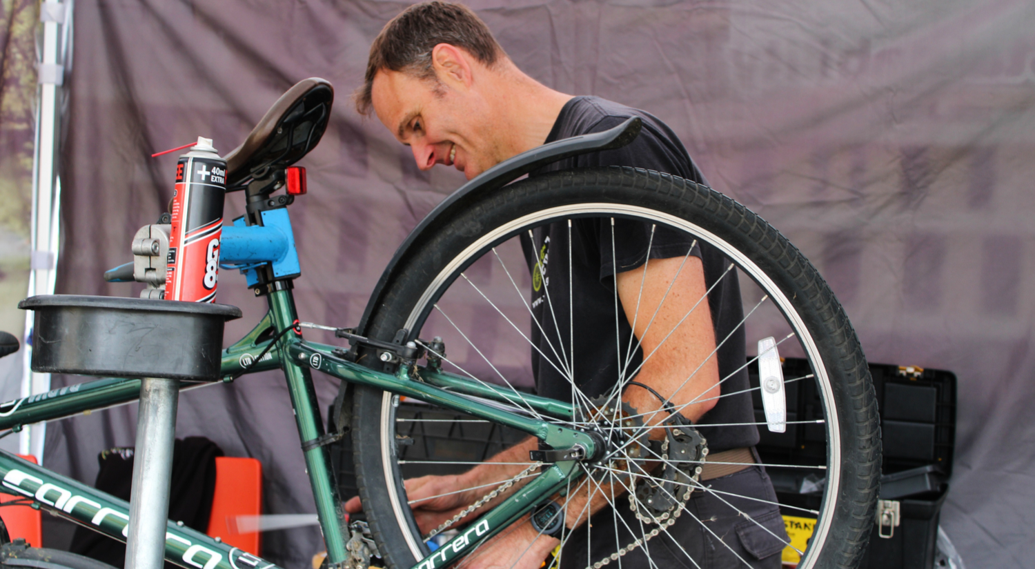 Dr Bike fixing a bike at our Colchester campus.