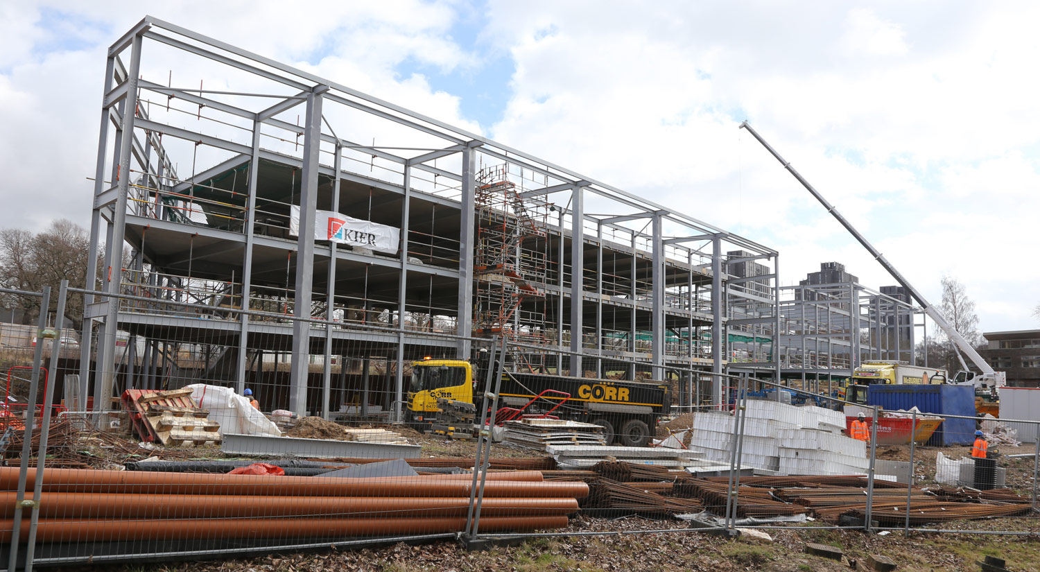The steel frame for the Innovation Centre is complete