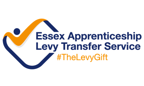 Essex Apprenticeship Levy Transfer logo in blue and yellow