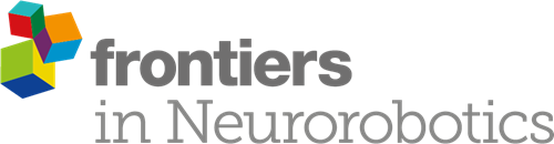 "A logo showing three cubes on the left and the words ""Frontiers in Neurorobotics"" in grey text."