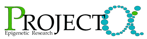 "A logo showing the word ""Project"" with a green ""P"", and an alpha made up of blue dots. The words ""epigenetic research"" are under ""Project""."
